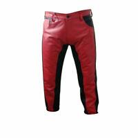 Original Cowhide Leather BLUF Pants Red & Black Bikers Pants