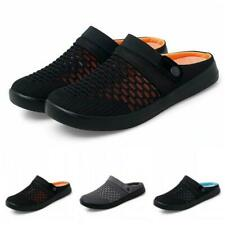 Mens Slip On Slippers Shoes Breathable Summer Flats Mules Loafers Mesh Casual