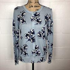 Ann Taylor Factory Blue Button Up Cardigan Floral Print Large Petite