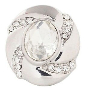 Silver Clear White Rhinestones 20mm Snap Charm Interchangeable For Ginger Snaps