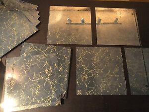 "Vintage SEARS Gold Vein Wall Mirror Tiles~12""x 12"" ~21 Tiles"