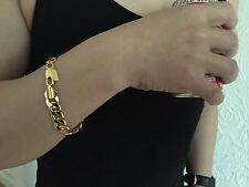 "Lifetime Guarantee 10mm 9"" 18K Yellow Gold Plated Chain Bracelet Christmas Gift"