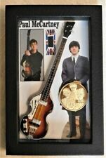 Beatles Paul McCartney Owned Clothing in Miniature Guitar Shadowbox with Medal