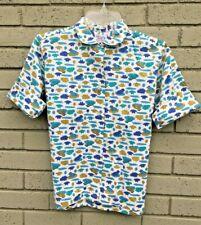 Vintage 60s Ladies Cotton Button up  Peter Pan Collar Blue Frog Print Shirt