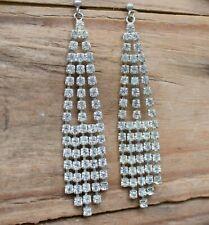 Vintage Rhinestone Drop Earrings Pierced Long Large Bridal Ladies Jewellery