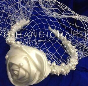 Handmade Flower Headband Veil With Pearl French Birdcage Veil Vintage Style