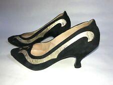 Peter Fox shoes 7.5M black & gold Hollywood Regency.