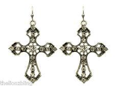 Industrial Gothic Urban Fashion Antiqued Silver Cross Earrings w/ Crystal Bling