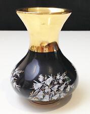 Prinknash Pottery - Gloucester - Black & Gold - Hand Decorated - Miniature Vase