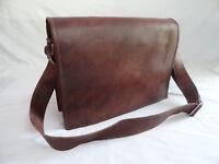 """17"""" Vintage Leather Laptop Messenger Bag Business Satchel Crossbody Shoulder bag"""