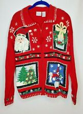 Carolina Colours Womens Med Ugly Christmas Sweater Red Zip-up Santa,Tree,Snowman