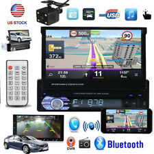Camera + 1 Din Car Stereo Radio Touch Screen Flip out Bluetooth FM USB AUX