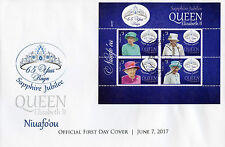 Niuafo'ou 2017 FDC Queen Elizabeth II Sapphire Jubilee 4v Cover Royalty Stamps