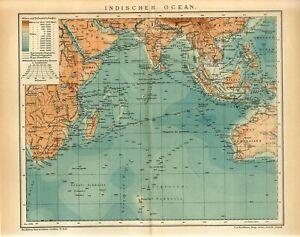 1904 INDIAN OCEAN AUSTRALIA SIAM INDIA CEYLON MADAGASCAR Antique Map dated