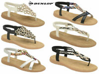 Ladies Dunlop Sandals Summer Embellished Beach Holiday Strappy Comfort Flat Shoe