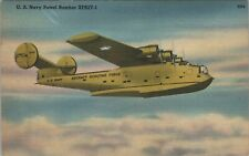 Postcard WWII US Navy Patrol Bomber Aircraft Scouting Force Flying Boat D4