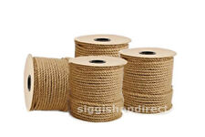 100m Reel of 8mm Natural Pure Jute Rope 3 Strand Braided Twisted Cord Twine