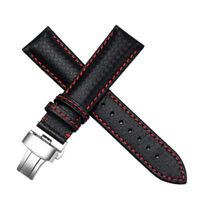 24mm Carbon Fiber Leather Watch Strap Bands Made For OMEGA SEAMASTER RAILMASTER