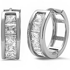 Princess Cut Baguette Cz Hoop .925 Sterling Silver Earrings