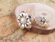 50PCS Silver Tone Faux Pearl Plastic Flower Button Emebellishment