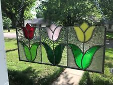 "Stained Glass Window Panel Suncatcher Spring Tulips- approx size 8""x 17"""