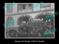 OLD LARGE HISTORIC PHOTO OF HASTINGS FIRE BRIGADE CREW, 1930 NEW ZEALAND