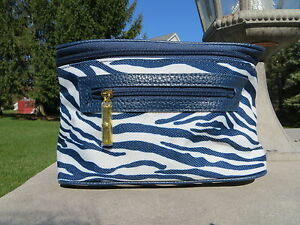 NEW - Estee Lauder make up train case - Navy Blue zebra stripes pattern