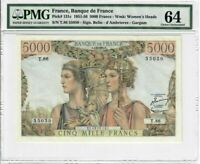 France 5000 Francs Banknote 1952 Pick#131c PMG Choice UNC 64 - Vintage - Large