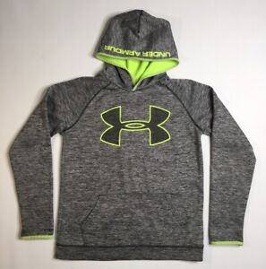 Under Amrour Storm Hoodie Youth XL Athletic Sweat Shirt Gray & Neon Green