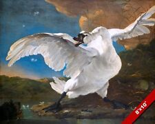 THE ANGRY & THREATENED SWAN BIRD W SPREAD WINGS PAINTING ART REAL CANVAS PRINT