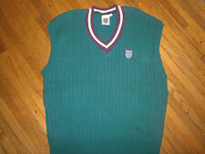 vtg 90s K-SWISS SWEATER VEST Green Teal Purple Tennis Cable Knit Stitched Logo
