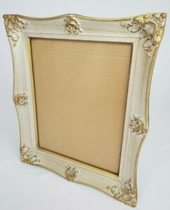 """Vintage Victorian Carved Wood Picture Frame Gold Washed French Shabby 18"""" x 15"""""""