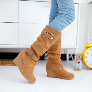 Womens Retro Round Toe Mid-Calf Boots Winter Warm Hidden Wedge Heels Shoes Size
