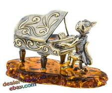 Bronze Solid Brass Baltic Amber Figurine Cat Pianist Statuette
