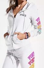 Victoria's Secret Pink Logo Perfect Full Zip Rainbow White Hoodie L NWT NEW