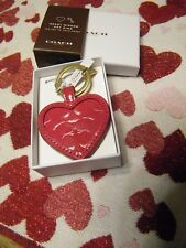 NWT Coach Red Patent Leather Mirror Key Chain Fob