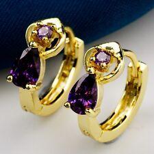Real Gold Plated Teardrop Design Dewy Gem Purple C.Z Women Lady Hoop Earrings