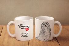 "Lhasa Apso - ceramic cup, mug ""Good morning and love"", Usa"