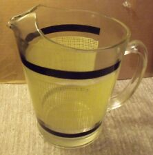VINTAGE GLASS ICE TEA WATER PITCHER YELLOW BURLAP DESIGN BLACK BANDS 2 QTS