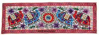 Embroidered 60'' Elephant Table Runner Wall Hanging Kutch Tapestry Indian Throw