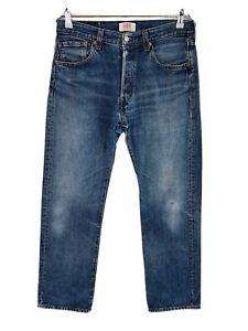 Vintage Levi 'S 501 Bleu Original Coupe Droite Regular Jeans Vieilli W33 L32