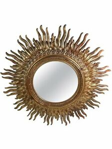 Large Vintage Decorative Sunburst Mirror With Cast Plastic Frame RARE!