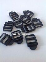20mm Black Plastic Ladder Lock Slider Rucksack Buckle Fastener