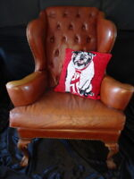 Museum Quality Antique Chesterfield Style Leather Handmade Wingback Armchair