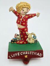 Mary Engelbreit I Love Christmas Stocking Holder Cast Iron Boy Girl Pajamas Toys