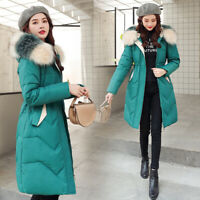 Women's Long Down Cotton Jacket Hooded Fur Collar Winter Warm Coat Parka Outwear