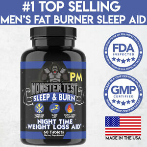 Monster Test Men's Fat Burner PM Night-Time Weight Loss Diet Pill