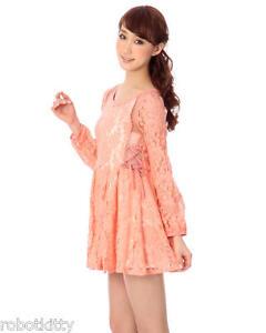 Genuine Liz Lisa Orange Pink See-through lace dress Brand New with Tag