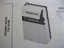 TOSHIBA 7TP-352M TRANSISTOR RADIO PHOTOFACT