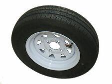 "ST 145R12 LRE Kenda Radial Trailer Tire  on 12"" 4 Lug White Spoke Steel Wheel"